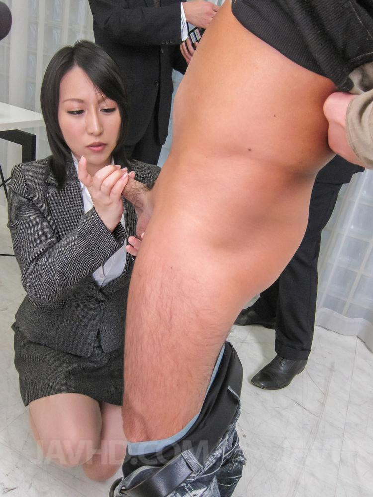 Office sex handjob
